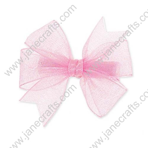 "4"" Shimmering Organza Hair Bow in Pink-12PCS"