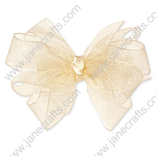 "4"" Shimmering Organza Hair Bow Clips in Lt yellow-12PCS"