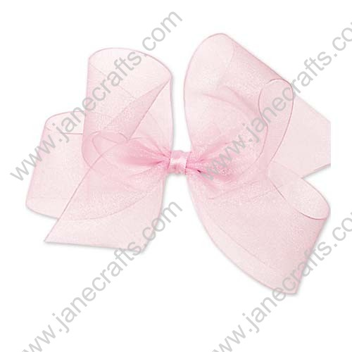 "4"" Shimmering Organza Hair Bow in Lt Pink-12PCS"