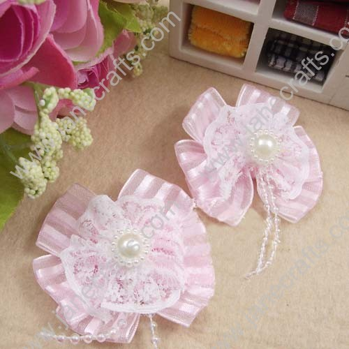 "2"" Pink Sheer Bows with Lace and pearl beads in center 25pcs"