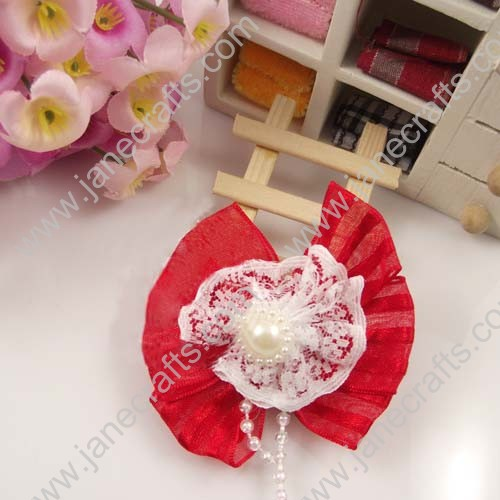 "2"" Red Sheer Bows with Lace and pearl beads in center 25pcs"