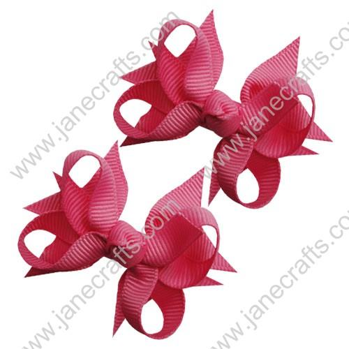 "2 1/4"" DIY Spike Bow without Clip 12 pcs-Hot Pink"
