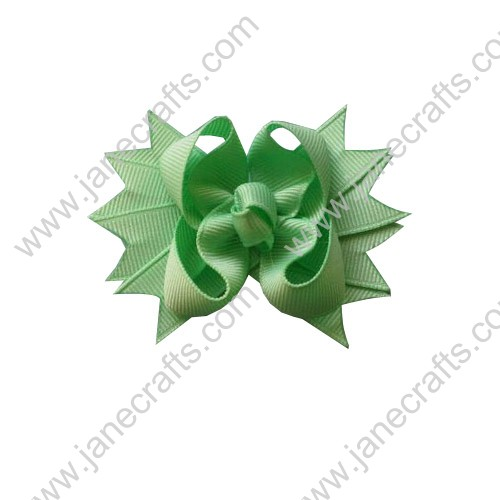 "3.5"" Solid Spike Girl Hair Bows Apple Green 12pcs-12PCS"