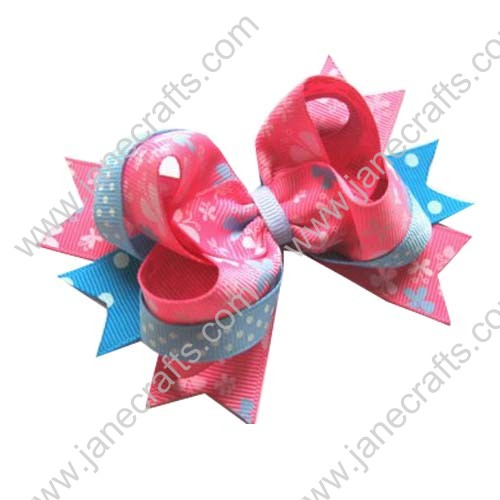 "4"" Pink and Blue Butterfly Boutique Spike Hair Bow Clips 12pcs"