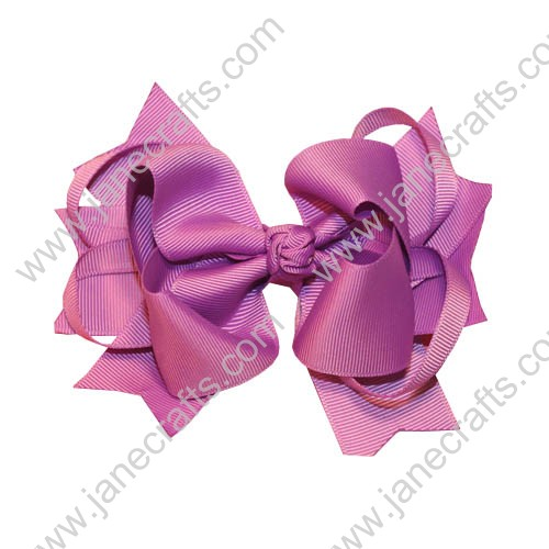"5.5"" Trendy Grosgrain Spike Hair Bow Clips in Purple-12pcs"