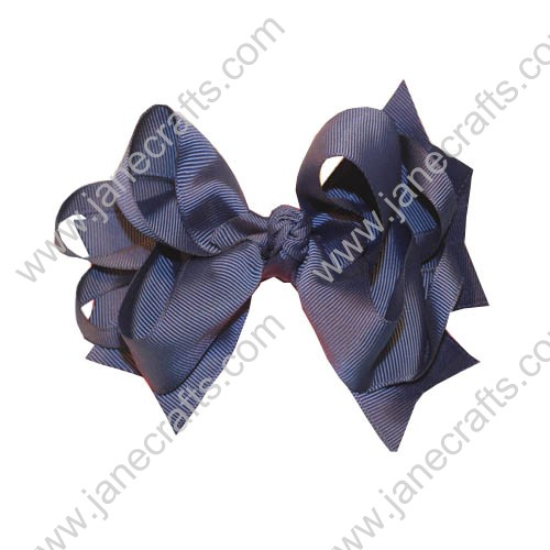 "5.5"" Trendy Grosgrain Spike Hair Bow Clips in Navy Blue-12pcs"