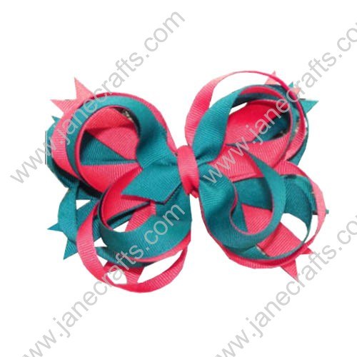 "Large 5"" Red and Emerald Chunky Boutique Girl Hair bow with Loop 12pcs"