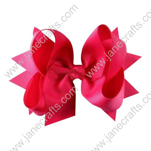 "3.5"" Baby Girl Fashion Spike Hair Bow Clips in Solid Shocking Pink Wholesale 12pcs"