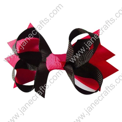 "3.5"" DIY big Two Tone Color Baby Spike HairBow Clips in Red Brown Wholesale 12pcs"