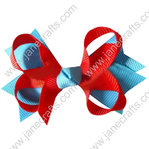 "3.5"" DIY big Two Tone Color Baby Spike HairBow Clips in Red Blue Mist Wholesale 12pcs"