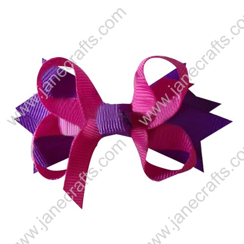 "3.5"" DIY big Two Tone Color Baby Spike HairBow Clips in Plum Hot Pink Wholesale 12pcs"