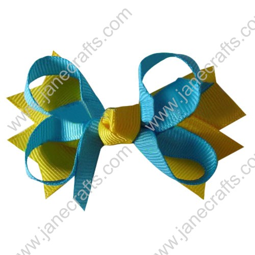 "3.5"" DIY big Two Tone Color Baby Spike HairBow Clips in Blue Mist Yellow Wholesale 12pcs"