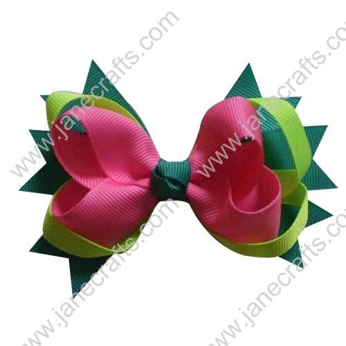 "4"" Baby Girl Cute Spilke Hair Bows in Cyan Apple Green Hot Pink Wholesale 12pcs"