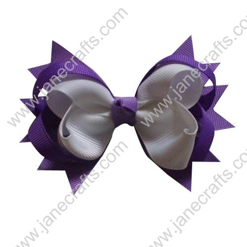 "4"" Baby Girl Cute Spilke Hair Bows in Orchid and White Wholesale 12pcs"