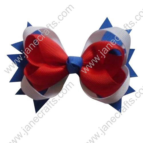 "4"" Baby Girl Cute Spilke Hair Bows in Royal White Red Wholesale 12pcs"