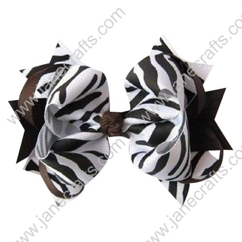 "4"" Baby Girl Fashion Spike Hair Bow Clips in White Black Zebra and Brown Wholesale 12PCS"