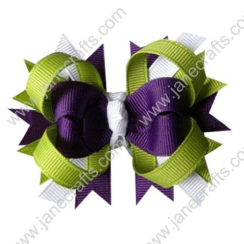 "4"" Polka Dot Boutique Baby Spike Loopy Hair bows in Plum White Green Wholesale 12pcs"