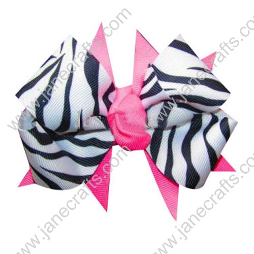"4"" White Black Zebra and Hot Pink Double Layered Spike HairBow Clips Wholesale 12PCS"