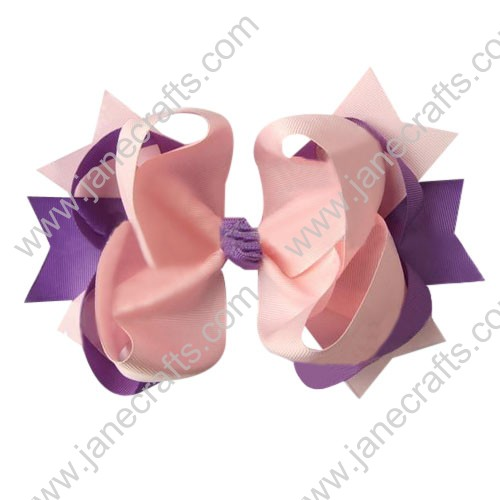"4"" big Two Tone Color Baby Spike HairBow Clips in Lt Pink Plum Wholesale 12pcs"