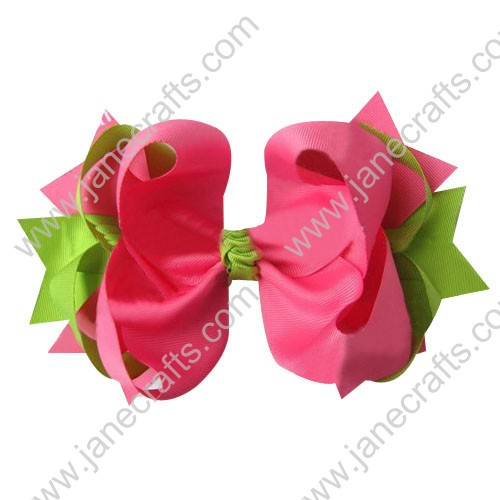 "4"" big Two Tone Color Baby Spike HairBow Clips in Apple Green Shocking Pink Wholesale 12pcs"
