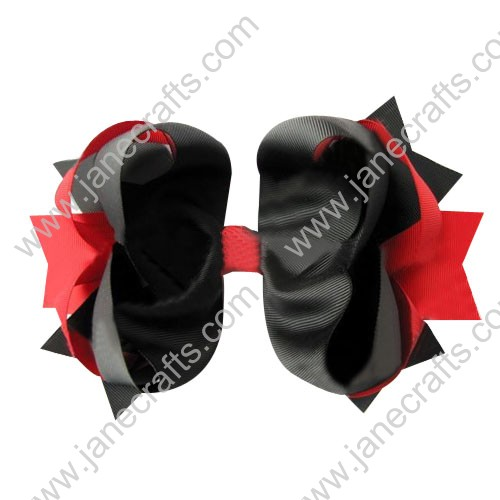 "4"" big Two Tone Color Baby Spike HairBow Clips in Black Red Wholesale 12pcs"