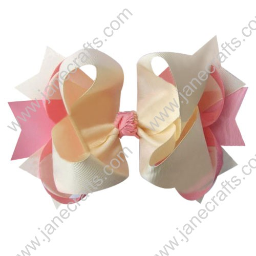 "4"" big Two Tone Color Baby Spike HairBow Clips in Lt Pink Maize Wholesale 12pcs"