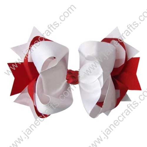 "4"" big Two Tone Color Baby Spike HairBow Clips in White Red Wholesale 12pcs"