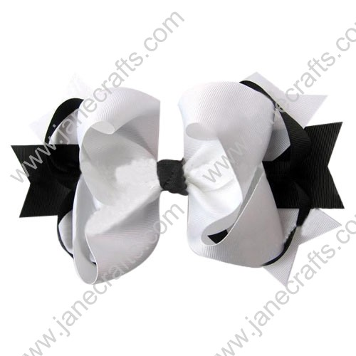 "4"" big Two Tone Color Baby Spike HairBow Clips in Black White Wholesale 12pcs"