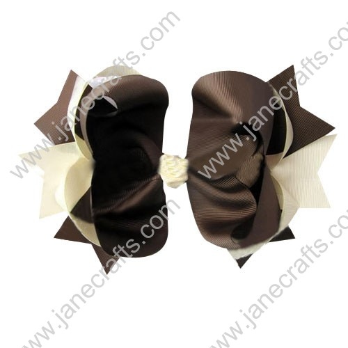 "4"" big Two Tone Color Baby Spike HairBow Clips in Brown Cream Wholesale 12pcs"