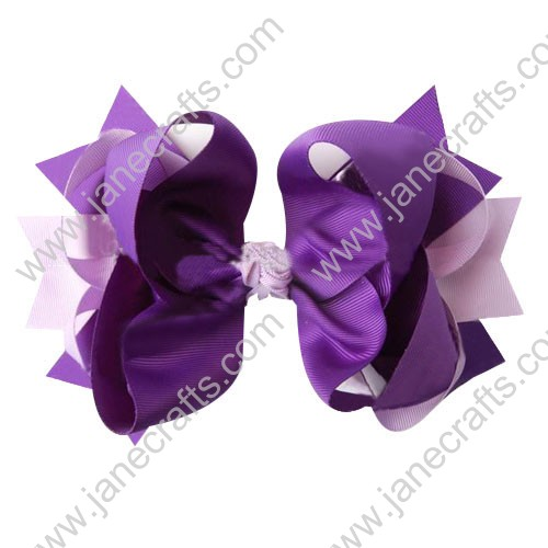 "4"" big Two Tone Color Baby Spike HairBow Clips in Lt Orchid Purple Wholesale 12pcs"