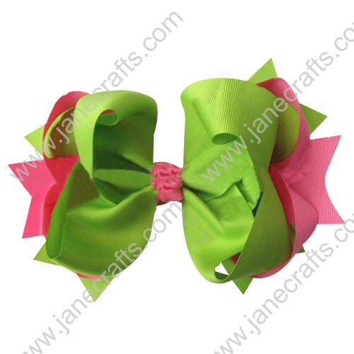 "4"" big Two Tone Color Baby Spike HairBow Clips in Hot Pink Apple Green Wholesale 12pcs"