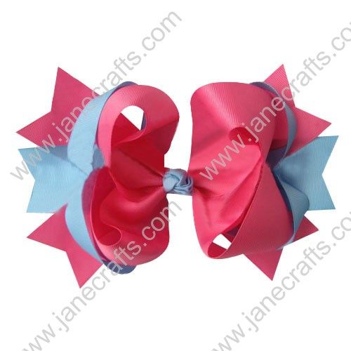 "4"" big Two Tone Color Baby Spike HairBow Clips in Hot Pink Lt Blue Wholesale 12pcs"