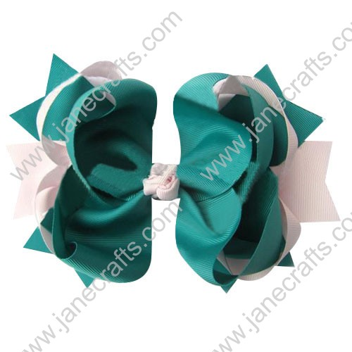 "4"" big Two Tone Color Baby Spike HairBow Clips in Antique White Cyan Wholesale 12pcs"