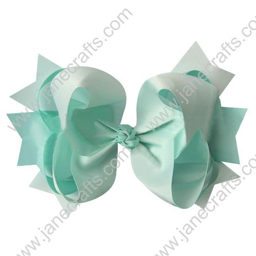 "4"" big Two Tone Color Baby Spike HairBow Clips in Solid Turquoise Wholesale 12pcs"