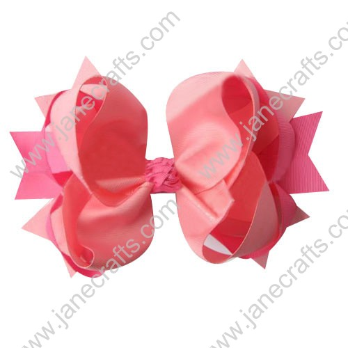 "4"" big Two Tone Color Baby Spike HairBow Clips in Pink Hot Pink Wholesale 12pcs"