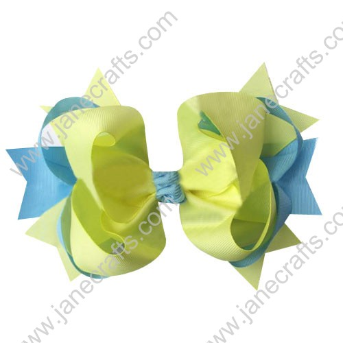 "4"" big Two Tone Color Baby Spike HairBow Clips in Lt Blue Lemon Wholesale 12pcs"