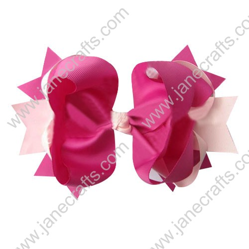 "4"" big Two Tone Color Baby Spike HairBow Clips in Pinks Wholesale 12pcs"