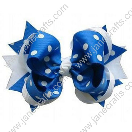 "4.5"" Baby Girl Hair Accessories Polka Dot Stacked Spike HairBow Clips in White and Royal Wholesale 12PCS"