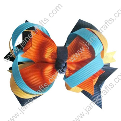 "4.5"" Baby Girl Hair Accessories Layered Spike HairBow Clips in Color Combination Wholesale 12PCS"