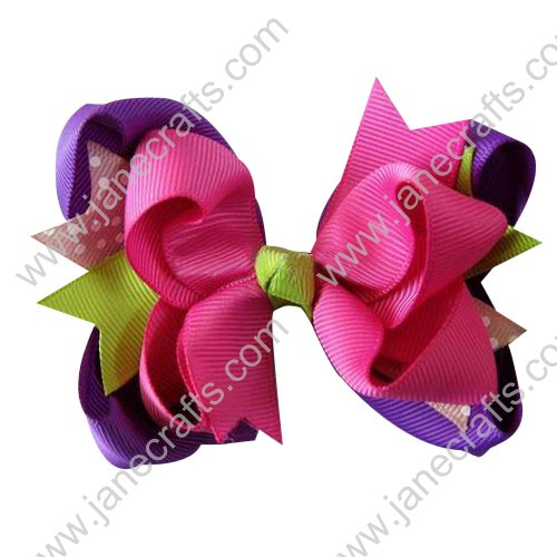 "4.5"" Baby Girl Hair Accessories Layered Spike HairBow Clips in Pink Green orchid Wholesale 24PCS"
