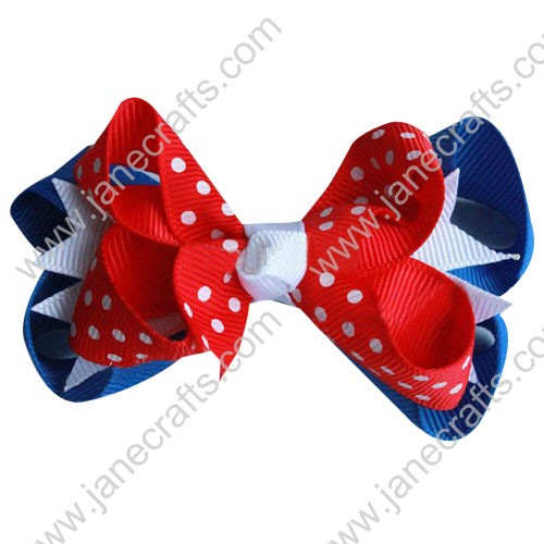 "4.5"" Baby Girl Hair Accessories Layered Spike Hair Bow Clip in Royal White Red Wholesale 24PCS"