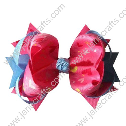 "5"" Trendy Big Valentine Spike Baby Girl Hair Bow Clips in Blue mist and Hot Pink Heart Wholesale 12PCS"