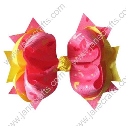 "5"" Trendy Big Valentine Spike Baby Girl Hair Bow Clips in Lemon and Red Heart Wholesale 12PCS"