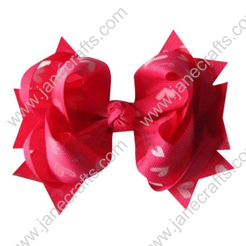 "5"" Trendy Big Spike Baby Girl Hair Bows in Shocking Pink Hearts Wholesale 12PCS"
