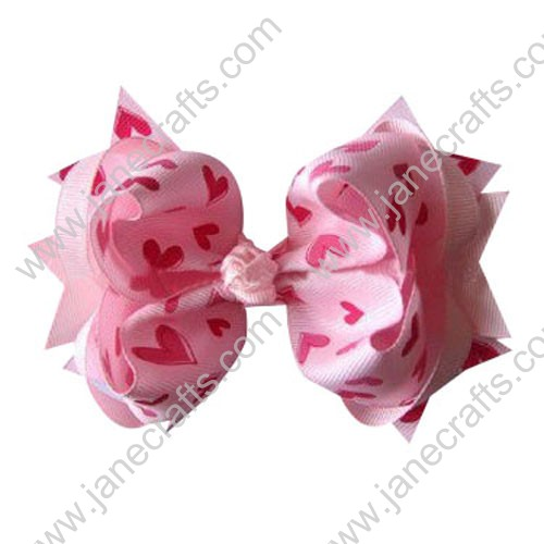 "5"" Trendy Big Valentine Spike Baby Girl Hair Bow Clips in Pink Hearts Wholesale 12PCS"