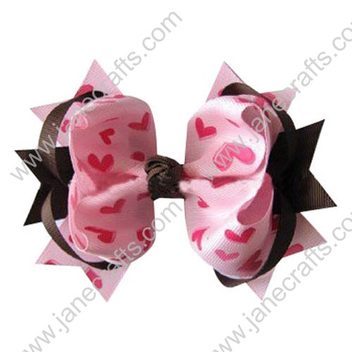 "5"" Trendy Big Valentine Spike Baby Girl Hair Bows in Brown and Pink Hearts Wholesale 12PCS"