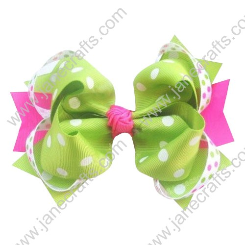 "5.5"" Polka Dot Girl Hair Accessories Spike HairBow Clips in Apple Green and Hot Pink Wholesale 12PCS"