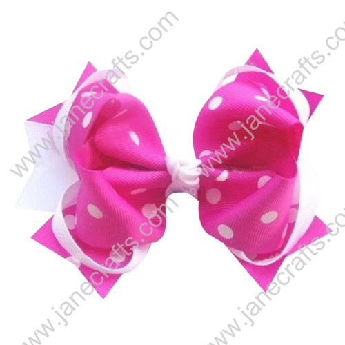 "5.5"" Polka Dot Girl Hair Accessories Spike HairBow Clips in White and Hot Pink Wholesale 12PCS"