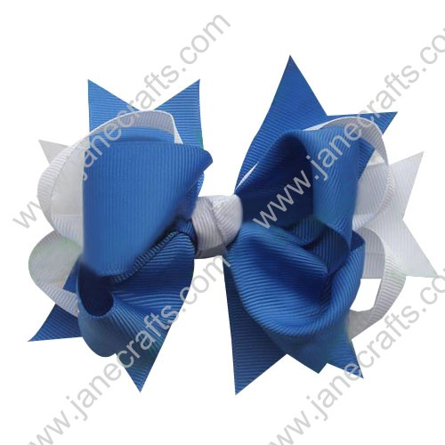 "5.5"" Big Baby Hair Accessories Stacked HairBow Clips in White Royal Blue Wholesale 12pcs"