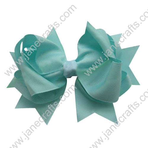 "5.5"" Big Baby Hair Accessories Stacked HairBow Clips in Solid Turquoise Wholesale 12pcs"